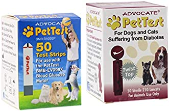Advocate PetTest Blood Glucose Test Strips & 21G Twist Top Sterile Lancets Combo – Ideal for Vets & Pet Owners - Easy to Use & Calibrated for Dogs/Cats Suffering from Diabetes, 50 Count per Box