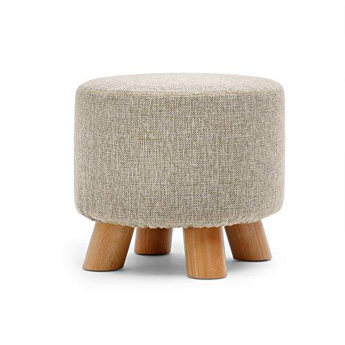 WOLF ES zitzak van stof, rond, creatief, van massief hout, gestoffeerd, voetensteun, opslag, kruk met afneembare hoes