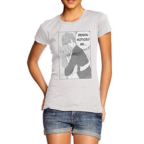 Frauen Japanische Thema Poster Print Senpai bemerkt Me T-Shirt Gr. X-Large, Weiß - Weiß
