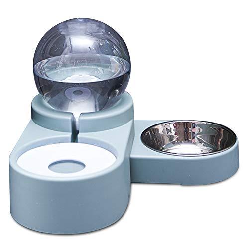 Fidofox Feed&Font Comedero y Bebedero para Perros y Gatos. Comedero Doble Bebedero automático. (Azul)