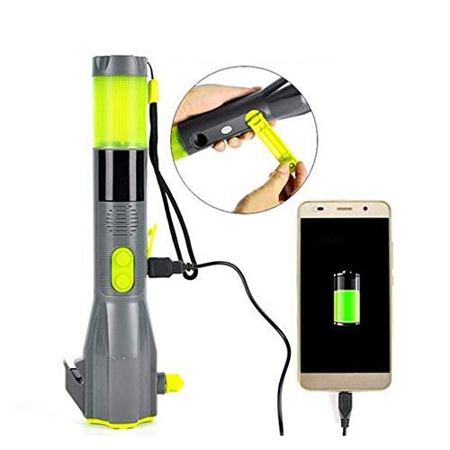 WXH Linterna Recargable con manivela, Linterna LED de Emergencia, cortacircuitos y Cortador de Cinturones de Seguridad, Herramienta de Escape Multiusos Resistente al Agua