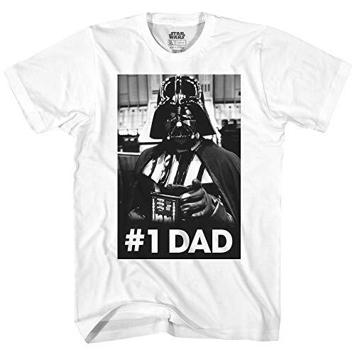 STAR WARS Camiseta Divertida de Darth Vader con el número uno para el día del Padre, Blanco, X-Large