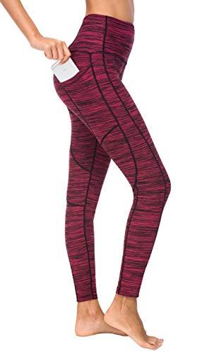 Flatik Damen Blickdichte Leggings HosenYoga Leggings Sporthosen für Damen Elastische Leggings Sporthosen(rote Beere M)