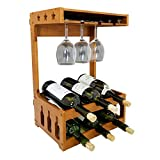 Sunny Gx Wine Glass Rack Holder - Countertop, Freestanding, Hold 6 Bottles & 6 Glasses, Wobble-Free, Pure Bamboo Wood, Perfect for Kitchen, Bar, Living Room, Home, (Walnut, 6 Bottles)