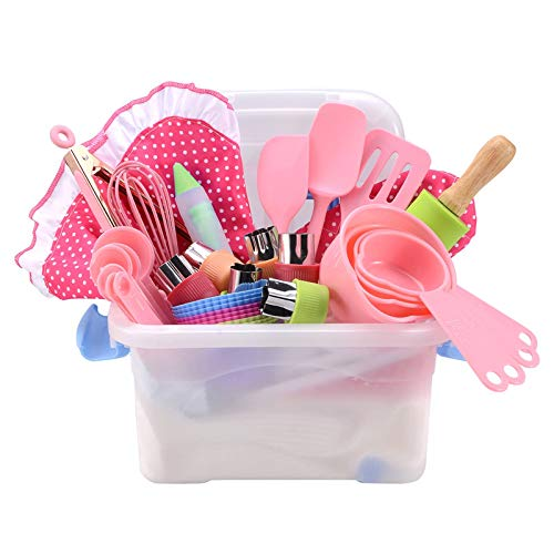 Kids Baking and Cooking Set Gift for Girl, Real Kids Cooking Utensils and Kitchen Accessories 42 Piece with Rolling Pin, Cookie Cutters, and Baking Supplies with Storage Case