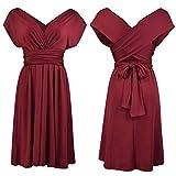 Clothink Convertible Wrap Wedding Bridesmaid Multi-wear Bandage Midi Dress Burgundy