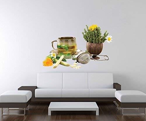 3D Wandtattoo Kräutertee Tee Tasse Blumen Margerite Kräuter Küche Wand Aufkleber Deko Wandbild Wandsticker A3D122, Motiv Breite:97cm