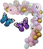 LLH - Paquete de guirnaldas de decoración de fiesta con mariposa, diseño de la selva de Mylar con globos de látex para cumpleaños y mariposas