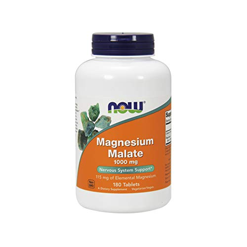 Now Foods Magnesium Malate Tablets, 1000 mg, Standard, 180-Count