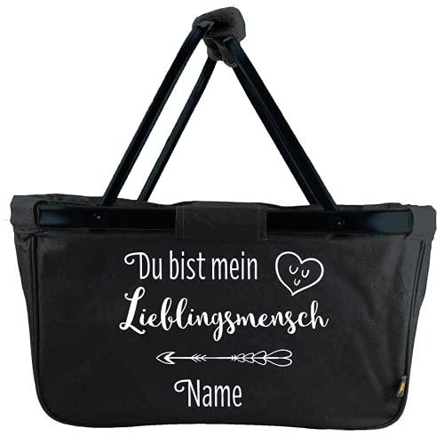 Mein Zwergenland faltbarer Einkaufskorb Lieblingsmensch mit Name, Korb klappbar 28 L, Faltkorb personalisierbar schwarz mit Spruch