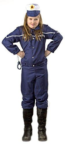 Nick and Ben Kinder Polizei-Uniform Kostüm Größe 140 Karneval Fasching Set Hut Mütze Jacke Hose Blau Ausrüstung Verkleidung FBI SWAT (140)