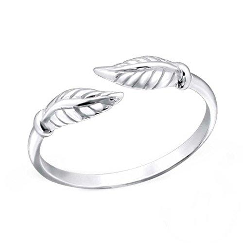 FIVE-D Anillo para dedo del pie de SL-Silver, diseño de hojas, tamaño ajustable, plata 925, en paquete de regalo