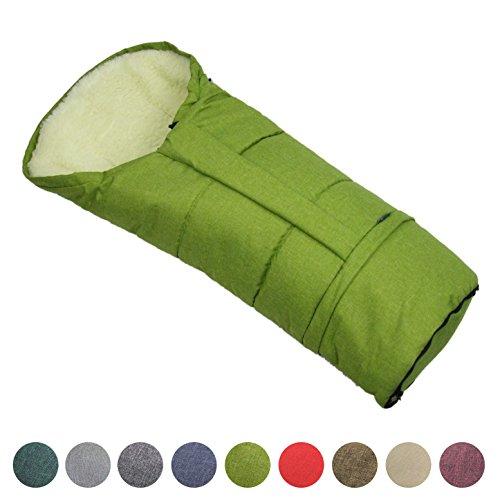 BAMBINIWELT Winterfusssack in Mumienform für Kinderwagen, Jogger, Buggy oder Schlitten, aus Wolle, Größe anpassbar, MUMIE MELIERT (grün)
