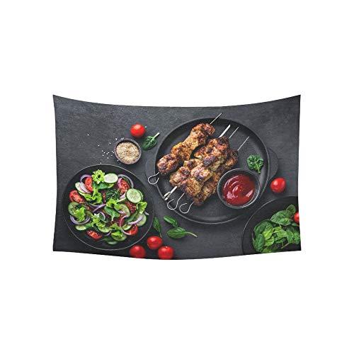 JOCHUAN Pinchos Carne a la Parrilla Brochetas Shish Kebab Tapices saludables Colgantes de Pared Flor Tapicería psicodélica Colgantes de Pared Indio para Sala de Estar Dormitorio 60 X 40 Pulgadas