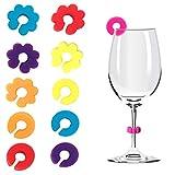 12 ciondoli in silicone per bicchieri di vino, per feste, champagne, cocktail, Martini, colori assortiti