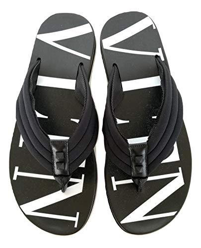 Valentino Herren VLTN SY2S0B56TQF 0NI Flip-Flops aus Gummi, Schwarz, Schwarz - Schwarz  - Größe: 44 EU