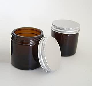 60ml Vidrio Ámbar Tarros con aluminio EPE Forrado Tapas (Pack de 2). Apto para aromaterapia, cremas, geles, Sueros, cera, pomadas, primeros auxilios etc