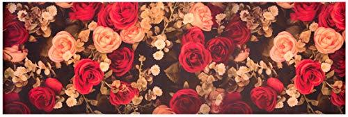 Baroni Tappeto Passatoia in Vinile da Cucina Rose Rosse in PVC Antiscivolo Lavabile 60x180 cm