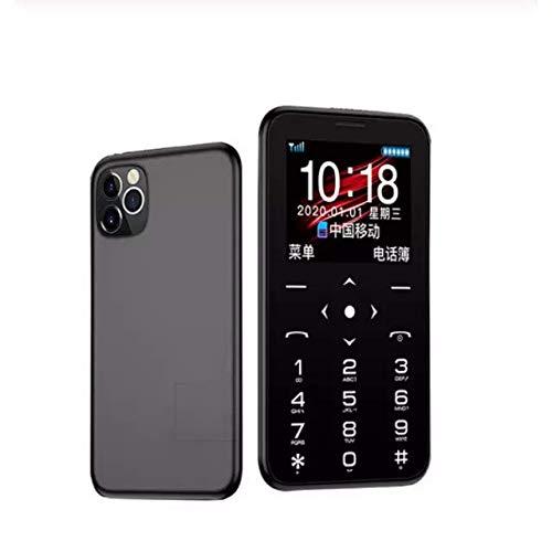 "Flex Boom™Mini Card Phone Unlocked 2G GSM Quad Band Mini Mobile Phones 400mAh 1.54"" IPS Color MTK6261M Cellphone Ultra-Thin Fashion Small Size Kids Cell Phones (Black)"