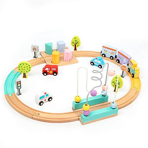 Actividad Cubo de Madera Bead Maze Bead Maze Toy Roller Coaster Preschool Early Education Toys Regalo para niños Niños Niños Niñas Actividad de Aprendizaje Divertido Cubo