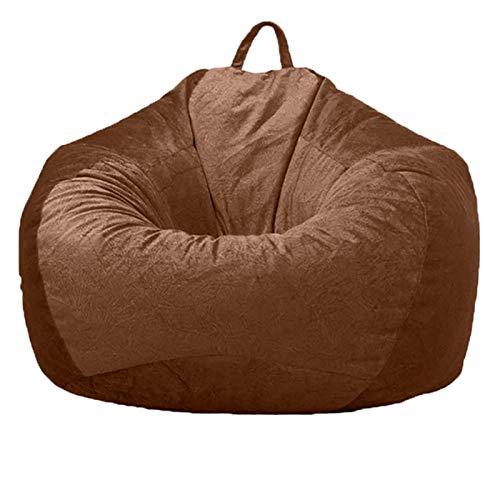 Cubierta De La Bolsa De Frijoles Funda De Silla De Puff, Silla Tumbona Bolsa de Frijol Bean Bag para Adultos y Niños Decoración de Hogar (Sin Relleno),Marrón,L