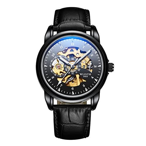 GDHJ Reloj mecánico casual para hombre de negocios | Blanco | Azul | Negro | Reloj de pulsera con esfera hueca 3ATM Pantalla luminosa impermeable Relojes de acero inoxidable negro (cuero)
