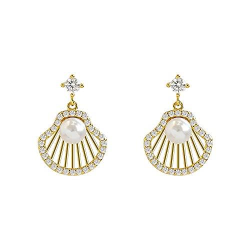 bjyxszd Regalo Cumpleaños Mujer, S925 Pendientes de Perlas en Forma de Aguja Mujer, Pendientes Pendientes Nuevo Europa