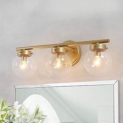 KSANA Bathroom Vanity Light Fixtures with Clear Globe Glass 19.5 (L) 6 (W) 7.5 (H), Gold
