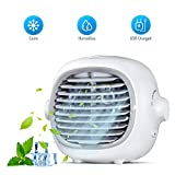 Evaporative Portable Cooler Fan Portable Air Conditioner Fan Air Cooler Personal Space Cooling Fan Mist Humidifiers Quiet Desk Fan with USB Recharged(White)