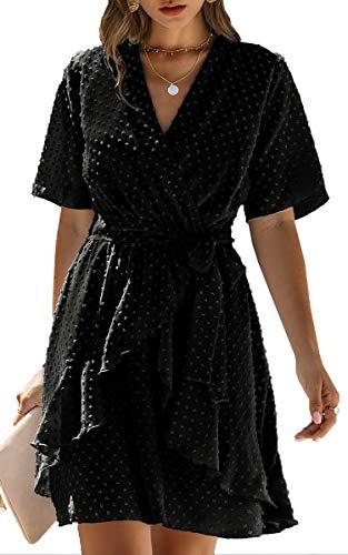 Spec4Y Damen Kleider V-Ausschnitt Vintage Langarm Rüschen Punkte Sommerkleid Knielang Swing Strandkleid Sommer 3023 Schwarz Small