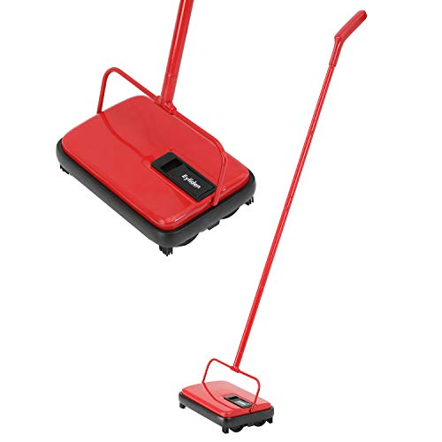 E.yliden タービー 手動掃除機 掃除機 じゅうたんタービー クリーナー スイーパー 一体型 片手操作 静音 電気不要 180°回転 300ML 軽量 コンパクト FT-MOP09 カーペット 絨毯 畳 タイル レッド&ブラック
