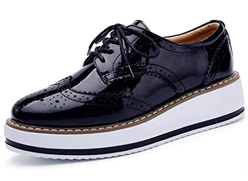 Minetom Damen Derby Brogue Schnürhalbschuhe Anzugschuhe Flügelspitzen Plattform Oxfords Schuh PU Leder Britischer Stil Bullock Schuhe Schwarz EU 38