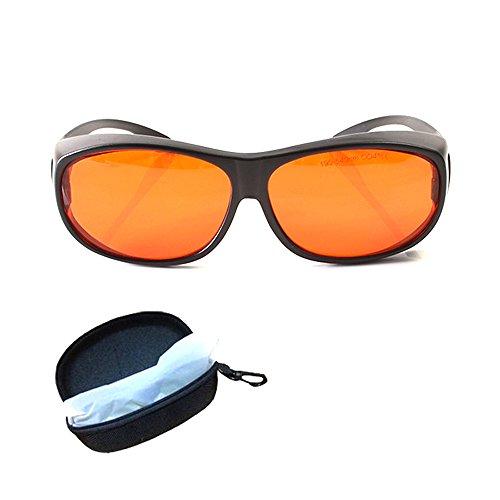 Gafas de seguridad láser para gafas de 405 nm, color morado, 450 nm, láser azul, 532 nm, protección completa de láser verde, 190 ~ 550 nm, lentes rojas, montura blanca y negra CE OD4 + VLT>30 %