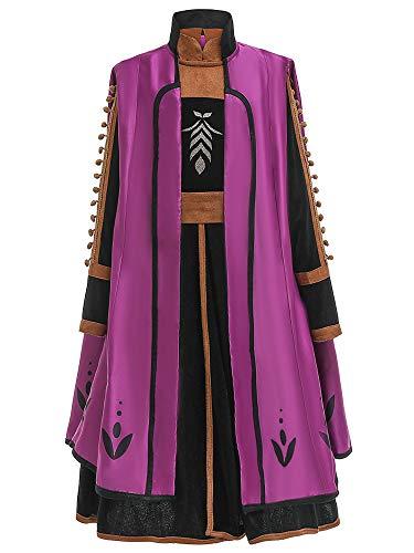 O.AMBW Frozen 2 Disfraz Cosplay Reina Anna Vestido Conjunto Completo con Accesorios Vestido de Princesa Ropa Infantil Disfraces Carnaval Fiesta de Halloween Cumpleaos para nias de 2 a 10 aos