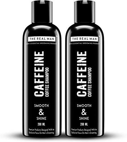 Glamorous Hub The Real Man Caffeine Coffee Champú Suave y Brillo 200ml. Con Extracto de Aloe Vera y Café Castaño Natural. 100% orgánico. (PAQUETE DE 2) (El embalaje puede variar)