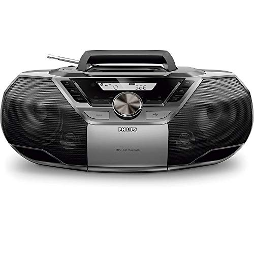 Philips AZB790/12 Analog/Digital 12W Negro, Plata - Radio CD (Analógico y Digital, Dab,Dab+,FM, Jugador, CD,CD-R,CD-RW, Fast Backward, Avance rápido, Next, Anterior, Programa, Repetir, Barajar, 12 W)