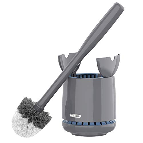 MR.SIGA Toilet Bowl Brush and Holder, Premium Quality, with Solid Handle and Durable Bristles for Bathroom Cleaning, Gray, 1 Pack