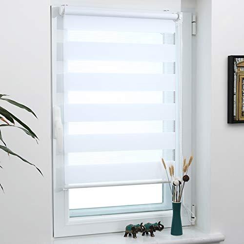 Grandekor Doppelrollo Klemmfix, Duo Rollos für Fenster und Tür ohne Bohren mit Klämmträger, Fensterrollo lichtdurchlässig & verdunkelnd - Weiß 40x120cm (Stoffbreite 36cm)