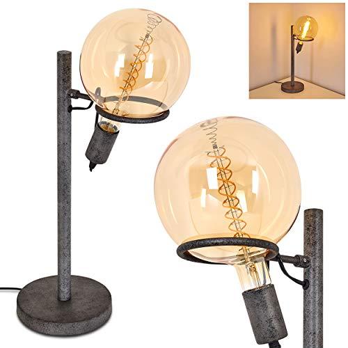 Tafellamp Boschoord van metaal in zwart/grijs, retro tafellamp met glazen kap, 1 vlam, 1 x E27 fitting max. 60 Watt, lamp in retro uitvoering met aan/uit schakelaar op de kabel, LED geschikt