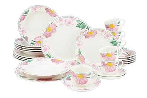 Creatable, 22756 Serie Alba Rose - Vajilla (30 piezas, porcelana)