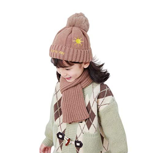 HIOD Niños de Punto Otoño Invierno Cálido Sombrero + Bufanda Conjunto para 2-8 Edades,Khaki