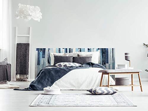 Cabecero Cama PVC Pintura Azul Rayas 135x60cm | Disponible en Varias Medidas | Cabecero Ligero, Elegante, Resistente y Económico