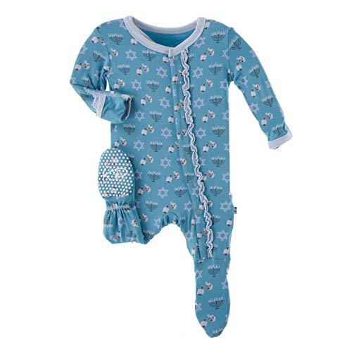 KicKee Pants Print Muffin Ruffle Footie with Snaps Sleepwear   One Piece Baby Bodysuit   Unisex Baby Clothes   Footies Pajamas (Blue Moon Hanukkah - 18-24 Months)