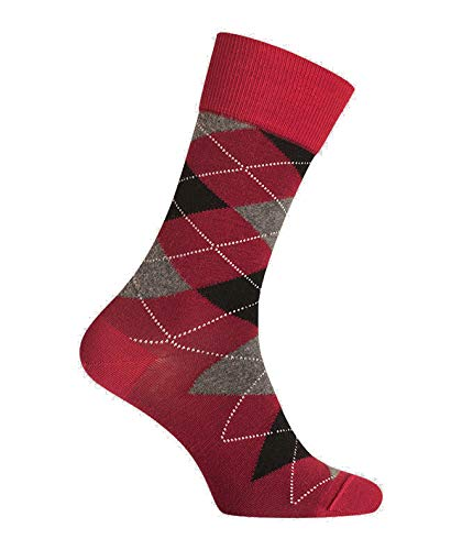 Chaussettes Intarsia Laine, Rouge, Homme, Motif, Chaussettes Made in France fr, fabrication française, Sans couture