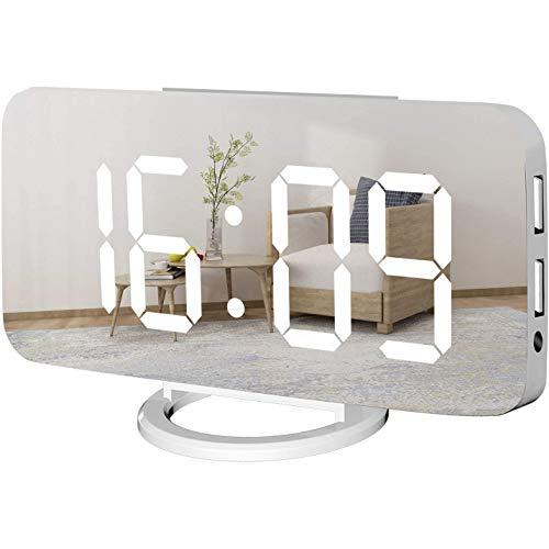 Liseng Despertador digital Gro?E, pantalla LED espejada, cargador USB, función de repetición de alarma, modo de atenuación junto al reloj de escritorio para dormitorio, color blanco