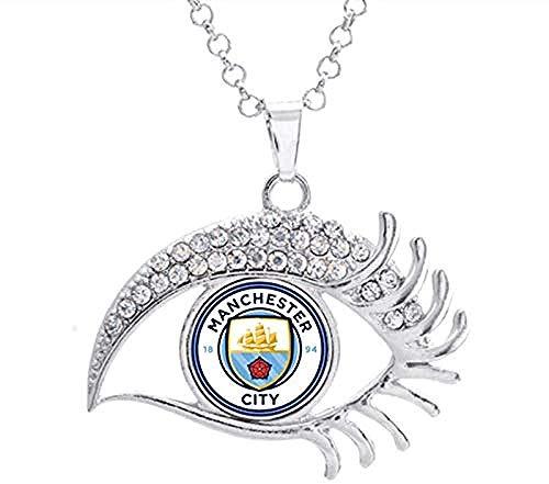 AOAOTOTQ Co.,ltd Halskette 16Mm Inter Liverpool Madrid Juventus Fc Barcelona Team Foto Glas Druckknopf Weiß Kristallförmige Halskette
