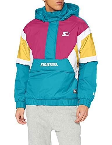 STARTER BLACK LABEL Color Block Half Zip Retro Jacket Cortavientos, Lake Blue/S Pnk/by/Wht, XL para Hombre