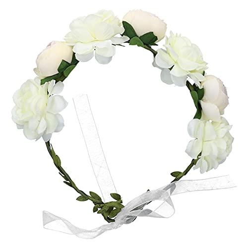 Corona di fiori regolabile Fascia per capelli da donna Corona floreale da sposa Copricapo per capelli Corona di fiori per ragazze Halo per puntelli per foto di maternità(bianca)
