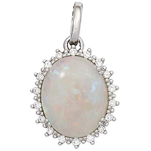 Remolques con Opal & 18 diamantes brillantes 585 oro blanco Oval Colgante