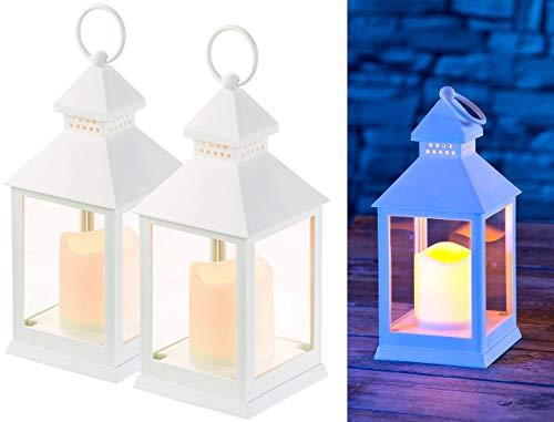 Lunartec Flackerlicht: 2er Pack Laterne mit flackernder LED-Kerze und Timer, Batteriebetrieb (LED Grablicht)